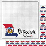Scrapbook Customs - Adventure Collection - 12 x 12 Double Sided Paper - Adventure Flag - Missouri