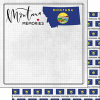Scrapbook Customs - Adventure Collection - 12 x 12 Double Sided Paper - Adventure Flag - Montana