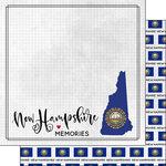 Scrapbook Customs - Adventure Collection - 12 x 12 Double Sided Paper - Adventure Flag - New Hampshire