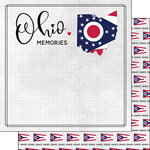Scrapbook Customs - Adventure Collection - 12 x 12 Double Sided Paper - Adventure Flag - Ohio
