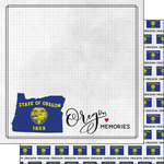 Scrapbook Customs - Adventure Collection - 12 x 12 Double Sided Paper - Adventure Flag - Oregon