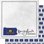 Scrapbook Customs - Adventure Collection - 12 x 12 Double Sided Paper - Adventure Flag - Pennsylvania
