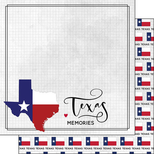 Scrapbook Customs - Adventure Collection - 12 x 12 Double Sided Paper - Adventure Flag - Texas