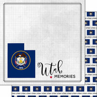 Scrapbook Customs - Adventure Collection - 12 x 12 Double Sided Paper - Adventure Flag - Utah