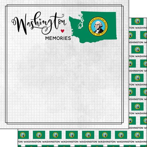 Scrapbook Customs - Adventure Collection - 12 x 12 Double Sided Paper - Adventure Flag - Washington