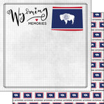 Scrapbook Customs - Adventure Collection - 12 x 12 Double Sided Paper - Adventure Flag - Wyoming