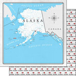 Scrapbook Customs - Adventure Collection - 12 x 12 Double Sided Paper - Adventure Map - Alaska