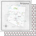 Scrapbook Customs - Adventure Collection - 12 x 12 Double Sided Paper - Adventure Map - Arizona