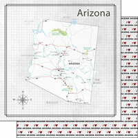 Scrapbook Customs - Adventure Collection - 12 x 12 Double Sided Paper - Adventure Map - Arizona