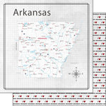 Scrapbook Customs - Adventure Collection - 12 x 12 Double Sided Paper - Adventure Map - Arkansas
