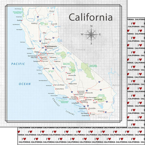 Scrapbook Customs - Adventure Collection - 12 x 12 Double Sided Paper - Adventure Map - California