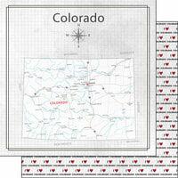 Scrapbook Customs - Adventure Collection - 12 x 12 Double Sided Paper - Adventure Map - Colorado