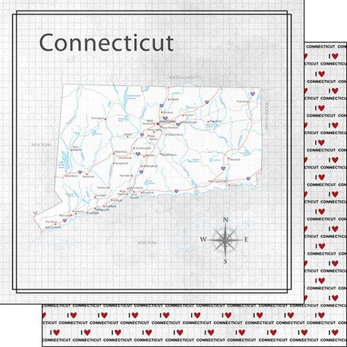 Scrapbook Customs - Adventure Collection - 12 x 12 Double Sided Paper - Adventure Map - Connecticut