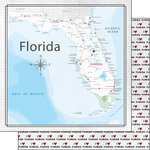 Scrapbook Customs - Adventure Collection - 12 x 12 Double Sided Paper - Adventure Map - Florida