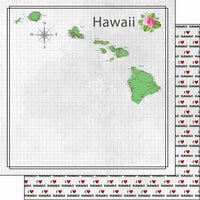 Scrapbook Customs - Adventure Collection - 12 x 12 Double Sided Paper - Adventure Map - Hawaii