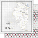 Scrapbook Customs - Adventure Collection - 12 x 12 Double Sided Paper - Adventure Map - Illinois