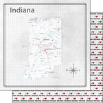 Scrapbook Customs - Adventure Collection - 12 x 12 Double Sided Paper - Adventure Map - Indiana