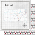 Scrapbook Customs - Adventure Collection - 12 x 12 Double Sided Paper - Adventure Map - Kansas