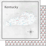 Scrapbook Customs - Adventure Collection - 12 x 12 Double Sided Paper - Adventure Map - Kentucky