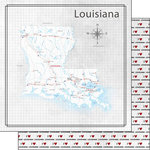 Scrapbook Customs - Adventure Collection - 12 x 12 Double Sided Paper - Adventure Map - Louisiana