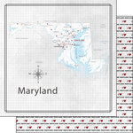 Scrapbook Customs - Adventure Collection - 12 x 12 Double Sided Paper - Adventure Map - Maryland