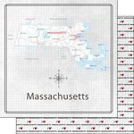 Scrapbook Customs - Adventure Collection - 12 x 12 Double Sided Paper - Adventure Map - Massachusetts