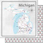 Scrapbook Customs - Adventure Collection - 12 x 12 Double Sided Paper - Adventure Map - Michigan