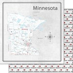 Scrapbook Customs - Adventure Collection - 12 x 12 Double Sided Paper - Adventure Map - Minnesota