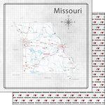 Scrapbook Customs - Adventure Collection - 12 x 12 Double Sided Paper - Adventure Map - Missouri