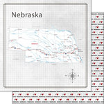 Scrapbook Customs - Adventure Collection - 12 x 12 Double Sided Paper - Adventure Map - Nebraska