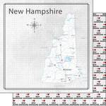 Scrapbook Customs - Adventure Collection - 12 x 12 Double Sided Paper - Adventure Map - New Hampshire