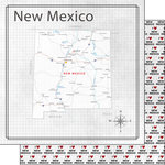 Scrapbook Customs - Adventure Collection - 12 x 12 Double Sided Paper - Adventure Map - New Mexico