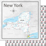 Scrapbook Customs - Adventure Collection - 12 x 12 Double Sided Paper - Adventure Map - New York