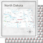 Scrapbook Customs - Adventure Collection - 12 x 12 Double Sided Paper - Adventure Map - North Dakota