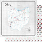 Scrapbook Customs - Adventure Collection - 12 x 12 Double Sided Paper - Adventure Map - Ohio
