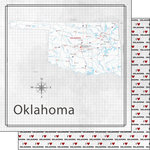 Scrapbook Customs - Adventure Collection - 12 x 12 Double Sided Paper - Adventure Map - Oklahoma