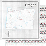 Scrapbook Customs - Adventure Collection - 12 x 12 Double Sided Paper - Adventure Map - Oregon