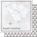 Scrapbook Customs - Adventure Collection - 12 x 12 Double Sided Paper - Adventure Map - South Carolina