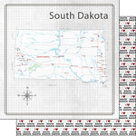 Scrapbook Customs - Adventure Collection - 12 x 12 Double Sided Paper - Adventure Map - South Dakota