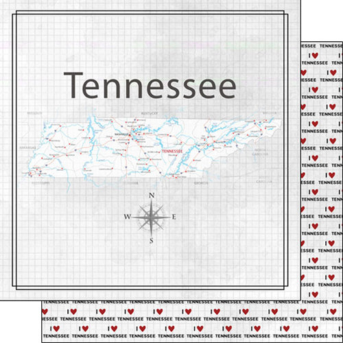 Scrapbook Customs - Adventure Collection - 12 x 12 Double Sided Paper - Adventure Map - Tennessee