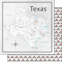 Scrapbook Customs - Adventure Collection - 12 x 12 Double Sided Paper - Adventure Map - Texas