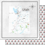 Scrapbook Customs - Adventure Collection - 12 x 12 Double Sided Paper - Adventure Map - Utah