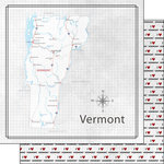 Scrapbook Customs - Adventure Collection - 12 x 12 Double Sided Paper - Adventure Map - Vermont