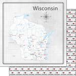 Scrapbook Customs - Adventure Collection - 12 x 12 Double Sided Paper - Adventure Map - Wisconsin