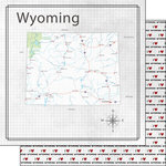 Scrapbook Customs - Adventure Collection - 12 x 12 Double Sided Paper - Adventure Map - Wyoming