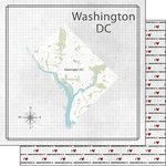 Scrapbook Customs - Adventure Collection - 12 x 12 Double Sided Paper - Adventure Map - Washington DC