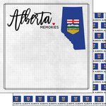 Scrapbook Customs - Canadian Province Adventure Collection - 12 x 12 Double Sided Paper - Adventure Flag - Alberta