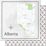 Scrapbook Customs - Canadian Province Adventure Collection - 12 x 12 Double Sided Paper - Adventure Map - Alberta