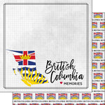 Scrapbook Customs - Canadian Province Adventure Collection - 12 x 12 Double Sided Paper - Adventure Flag - British Columbia