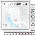 Scrapbook Customs - Canadian Province Adventure Collection - 12 x 12 Double Sided Paper - Adventure Map - British Columbia